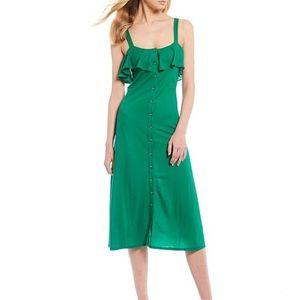 Clara Popover Ruffle Button Front Knit Midi Dress